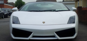 This Lamborghini Gallardo is available for hire anywhere in UK.