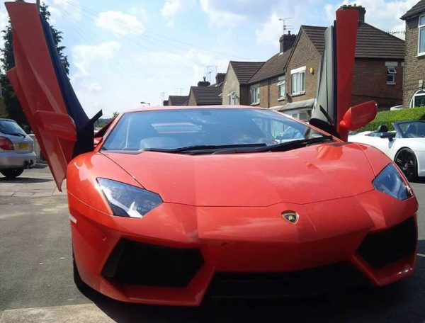 This Lamborghini Aventador is available for hire anywhere in UK.