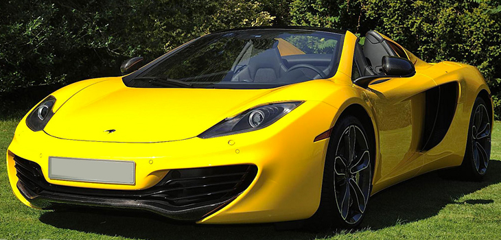 This McLaren MP4 Spider is available for hire anywhere in UK.