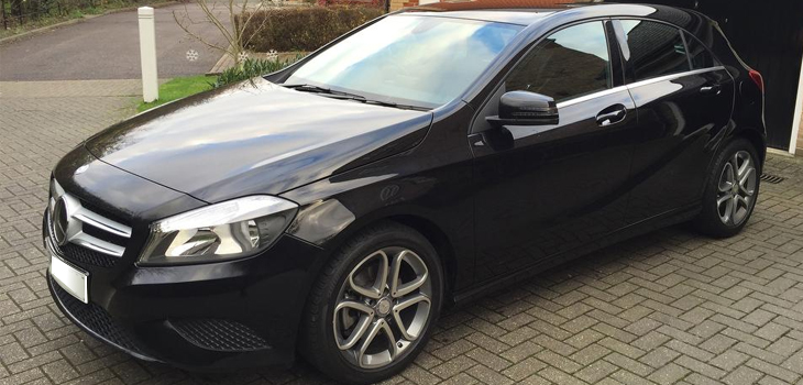 This Mercedes A Class is available for hire anywhere in UK.