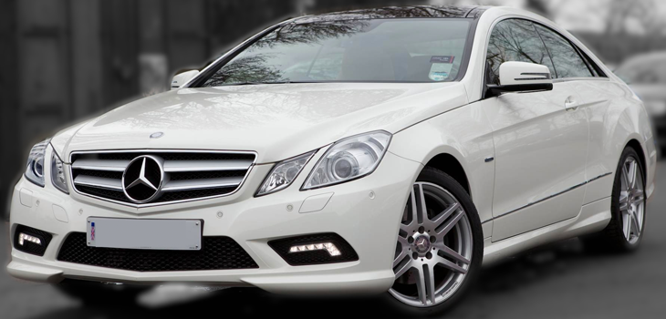 This Mercedes E Class is available for hire anywhere in UK.