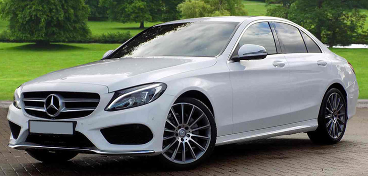 This Mercedes C Class is available for hire anywhere in UK.