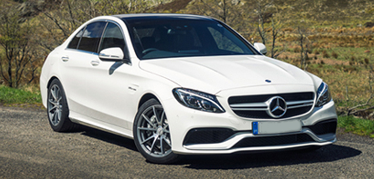 This Mercedes C63 AMG is available for hire anywhere in UK.