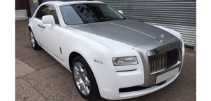 This Rolls Royce Ghost is available for hire anywhere in UK.