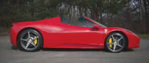 This Ferrari 458 Spyder is available for hire anywhere in UK.
