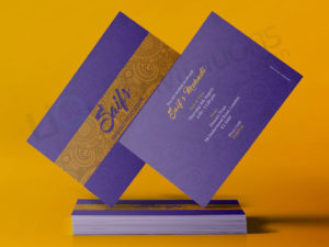 Purple and gold Pakistani and Indian Invitation Wedding Cards for Mendhi and Walima. Double card.