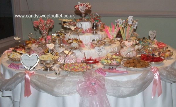 Wide range of sweets availabe for wedding sweets buffet table hire