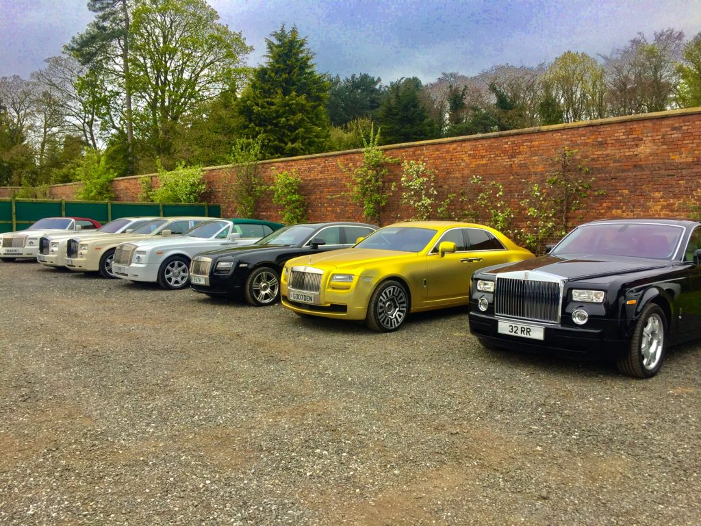 Gold Rolls Royce Ghost Hire Car Shaadiga