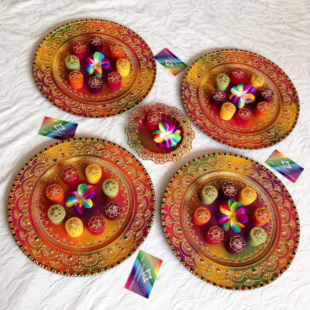 grandeurbazaar_colourful-mendhi-plate-and-tealights2