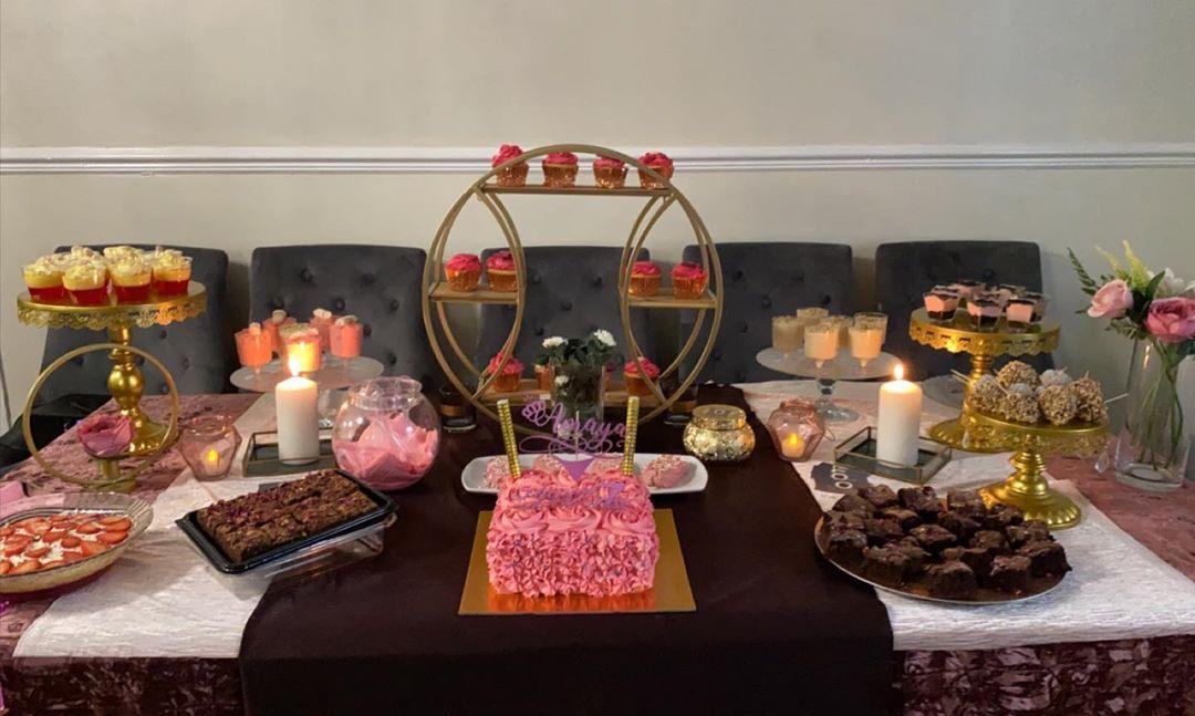 Asian dessert table including setup